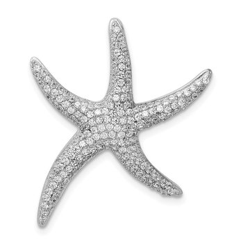 Sterling Silver Rhodium-plated Pave CZ Starfish Chain Slide