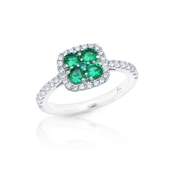 Sweet Serenade Emerald and Diamond Cluster Ring