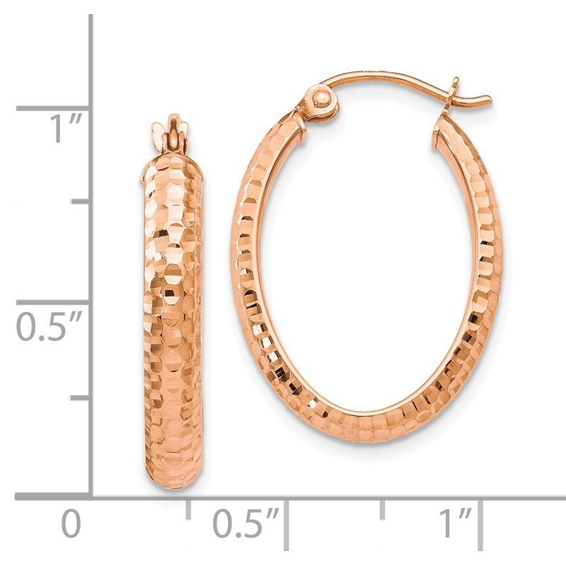 Leslie's Leslie's 10K Rose Gold D/C Oval Hinged Hoop Earrings