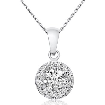 Beautiful 0.39ctw 14k White Gold Round Shape Diamond Pendant