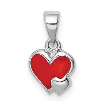 Sterling Silver Rhodium-plated Childs Enameled Red Heart Pendant