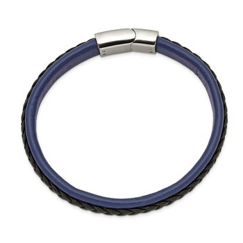 Stainless Steel Polished Blue and Black Faux Leather 8.25in Bracelet