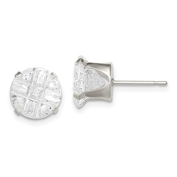 Sterling Silver 9mm Round Snap Set Laser-cut CZ Stud Earrings