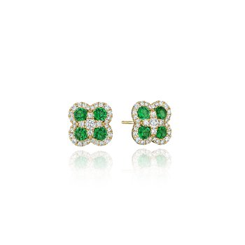 Endless Bliss Emerald and Diamond Cluster Studs