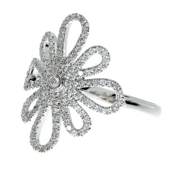 14k White Gold Flowerburst Diamond Fashion Ring