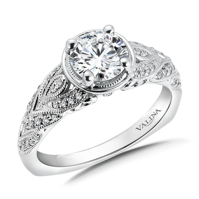 Valina Diamond Engagement Ring Mounting in 14K White Gold (.19 ct. tw.)