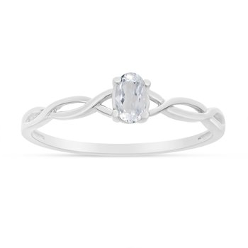 14k White Gold Oval White Topaz Ring