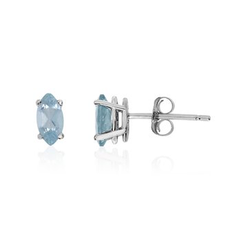 14k White Gold Aquamarine Marquise Earrings