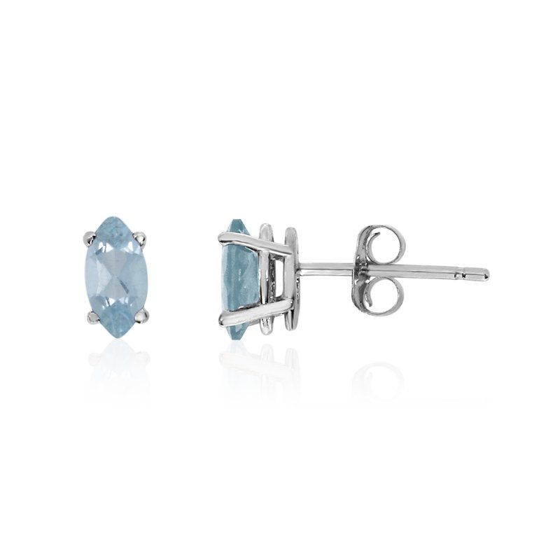 Color Merchants 14k White Gold Aquamarine Marquise Earrings