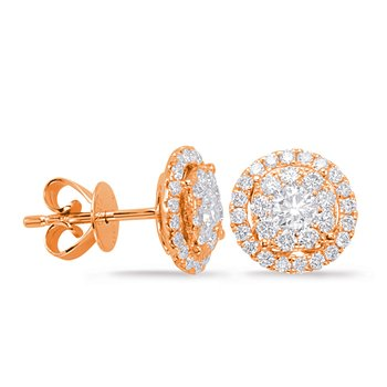 Rose Gold Diamond Earring 1cttw