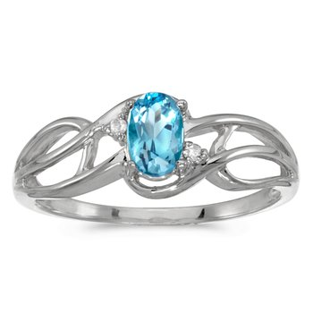 14k White Gold Oval Blue Topaz And Diamond Curve Ring