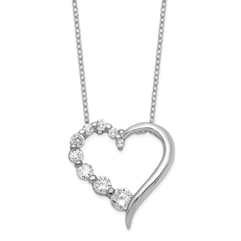 Quality Gold Sterling Silver Polished Open Heart CZ Journey 18 inch Necklace