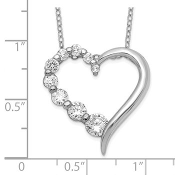 Sterling Silver Polished Open Heart CZ Journey 18 inch Necklace