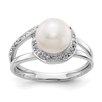 14k White Gold 7.5mm FW Cultured Pearl A Diamond ring