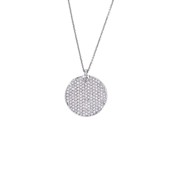 18KT GOLD DISC DIAMOND PAVE PENDANT