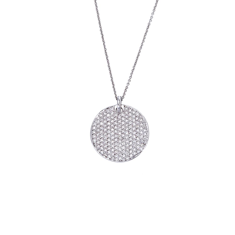 Roberto Coin 18Kt Gold Disc Diamond Pave Pendant