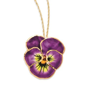 24K Gold-trim Lacquer Dipped Lilac Pansy 20 inch Gold-tone Necklace