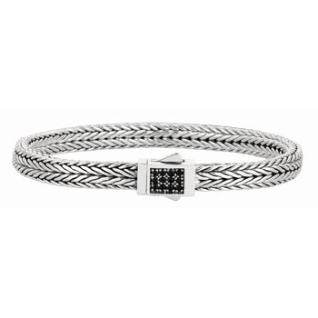 Sterling Silver Signature Woven Sapphire Rectangle Lock Bracelet
