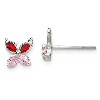 Sterling Silver Pink CZ Enameled Butterfly Post Earrings