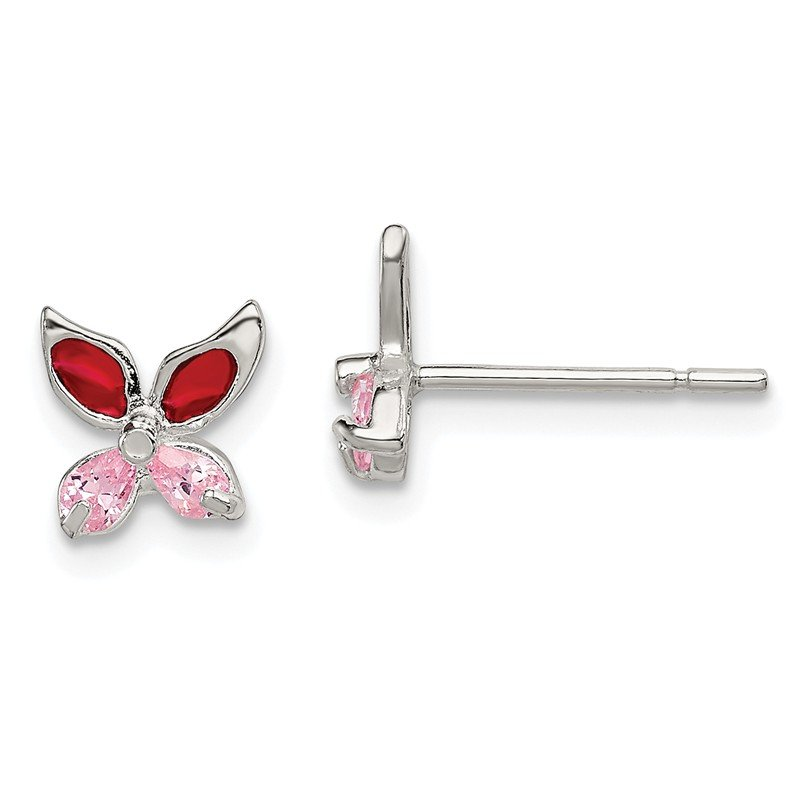 Quality Gold Sterling Silver Pink CZ Enameled Butterfly Post Earrings