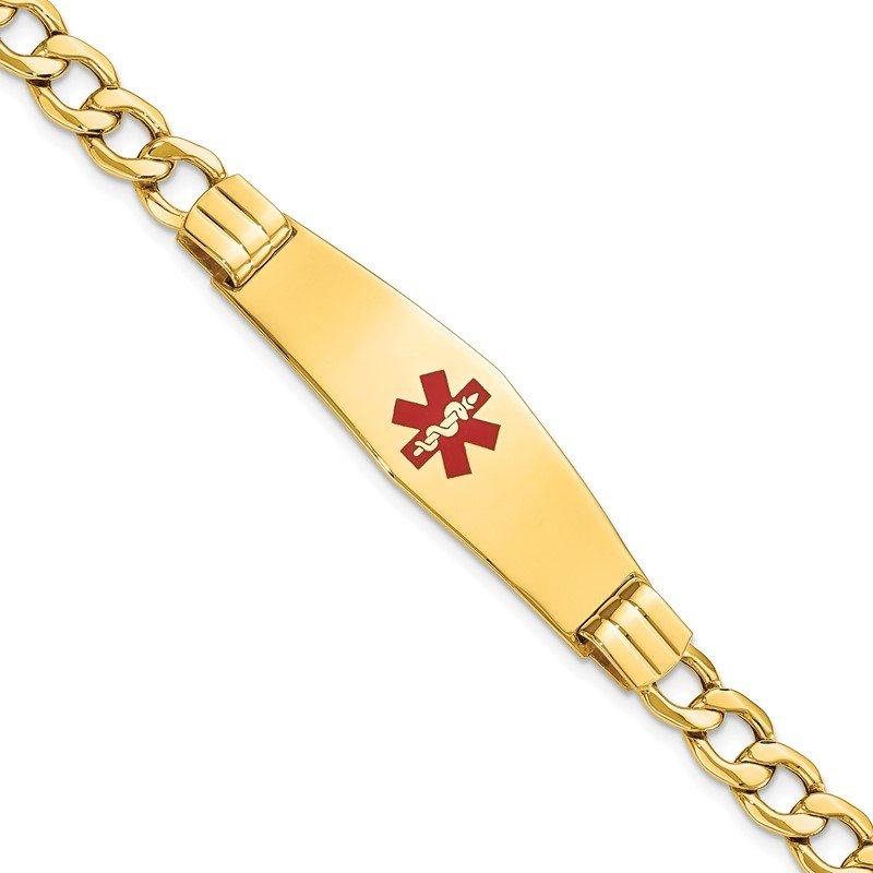 Quality Gold 14K Semi-solid Medical Soft Diamond Shape Red Enamel Curb Link ID Bracelet