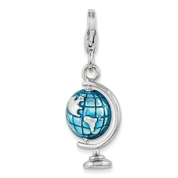 Sterling Silver Rhodium Enameled Globe w/Lobster Clasp Charm