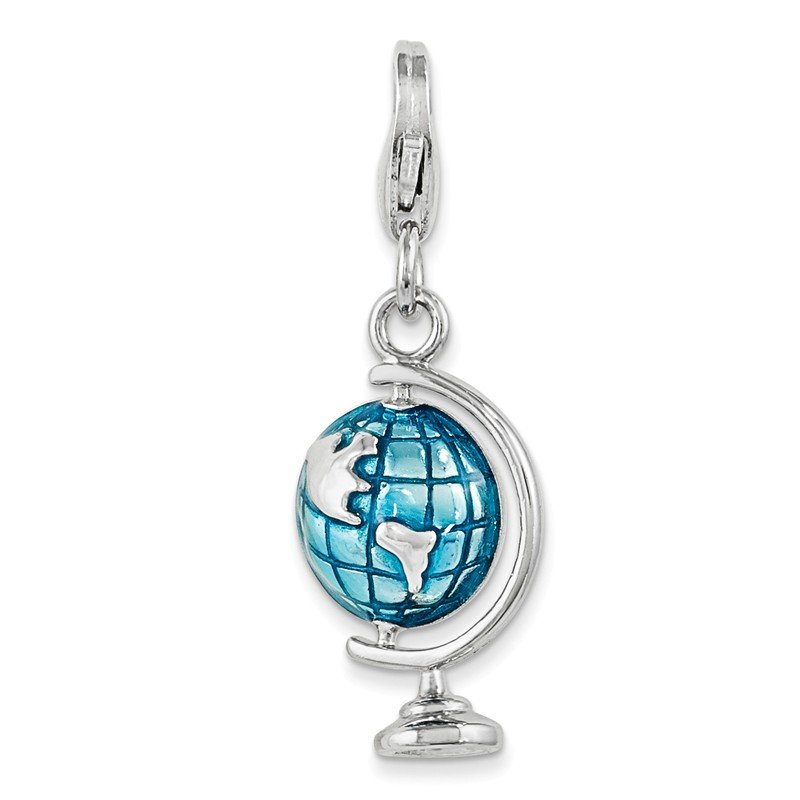 Quality Gold Sterling Silver Rhodium Enameled Globe w/Lobster Clasp Charm