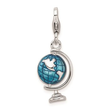 Sterling Silver Rhodium-plated w/Lobster Clasp Enameled Globe Charm