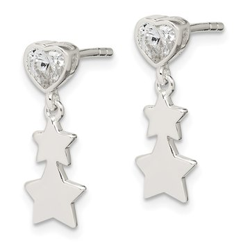 Sterling Silver CZ Heart and Stars Dangle Post Earrings