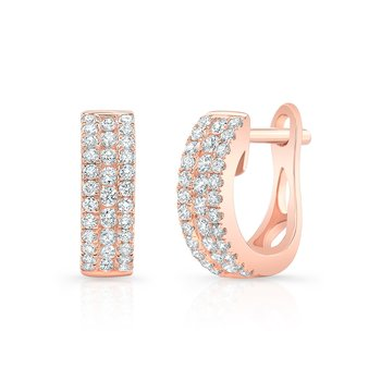 Rose Gold Channel Set Mini Huggie Hoops