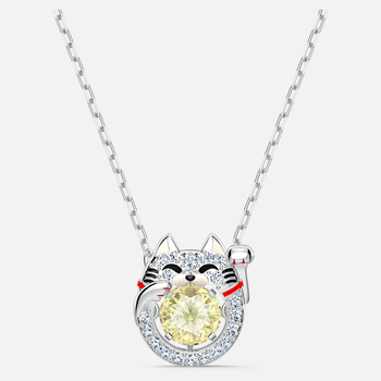 Swarovski Sparkling Dance Cat Necklace, Light multi-colored, Rhodium plated