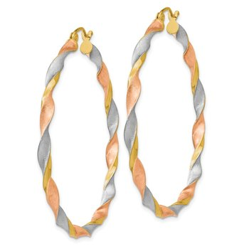 14k White & Rose Rhodium Satin Twisted Hoop Earrings