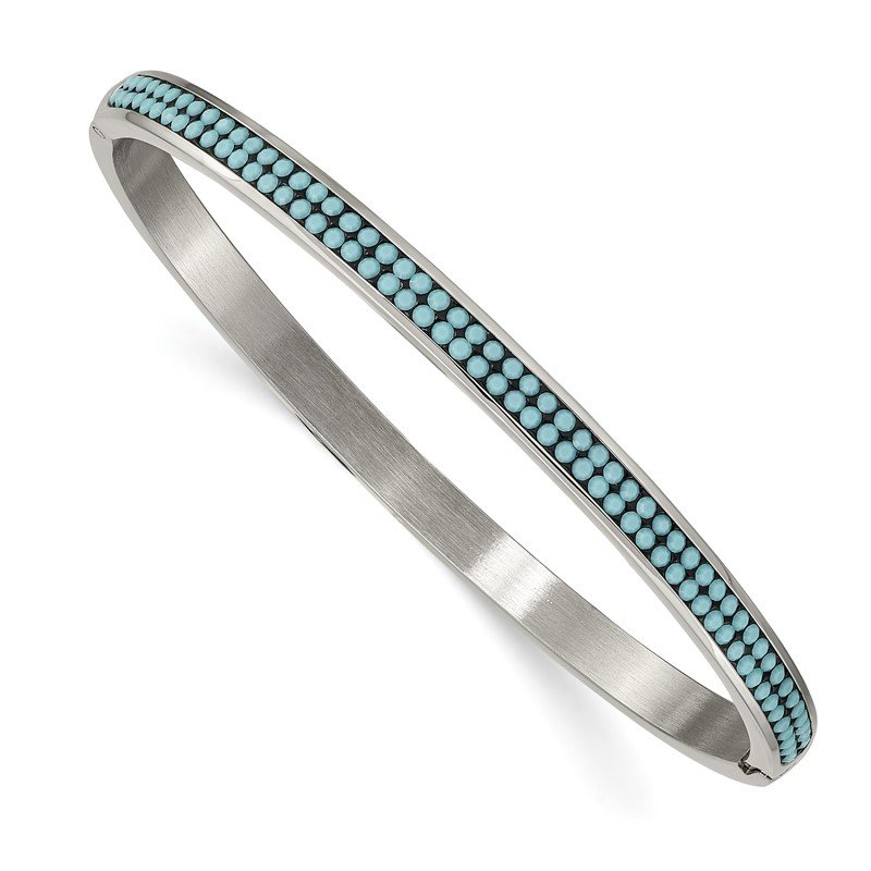 Chisel Stainless Steel Polished w/Preciosa Crystal 4.75mm Hinged Bangle