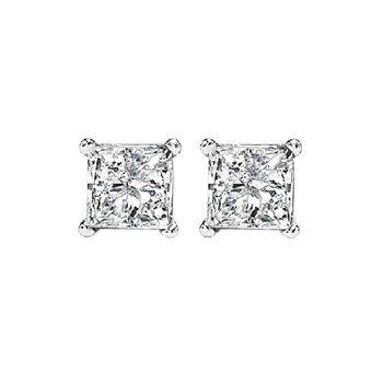 14K P/Cut Diamond Studs 1/2 ctw