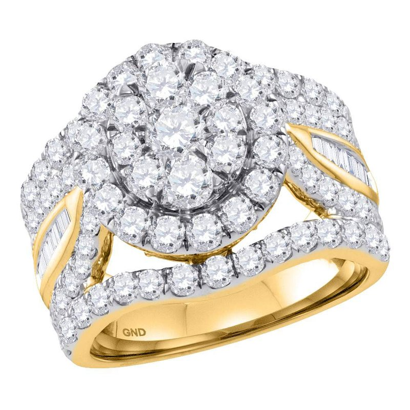 Gold-N-Diamonds, Inc. (Atlanta) 14kt Yellow Gold Womens Round Diamond Flower Cluster Bridal Wedding Engagement Ring 3-1/2 Cttw