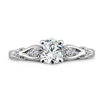Engagement Ring With Side Stones in 14K White Gold with Platinum Head (3/4ct. tw.)