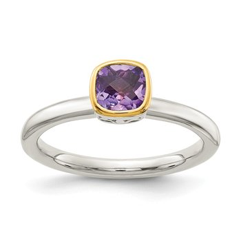 Sterling Silver w/ 14K Accent Amethyst Ring