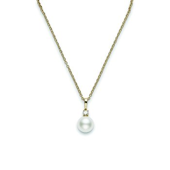18K Yellow Gold Pearl Pendant with Diamond