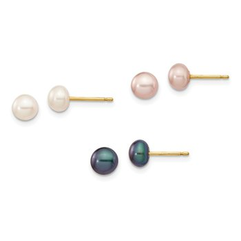 14K 5-6mm Button Freshwater Cultured Pearl Boxed 3 pair Post Earrings Set