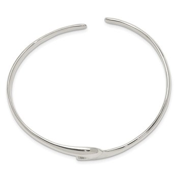 Sterling Silver Polished Fancy Cuff Bangle Bracelet