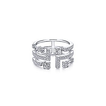 14K White Gold Geometric Wide Band Diamond Ring