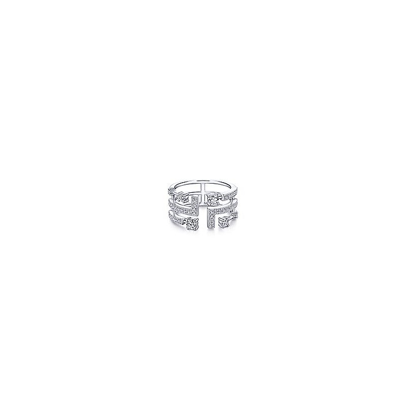 Gabriel Fashion 14K White Gold Geometric Wide Band Diamond Ring