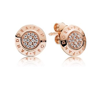 Pandora Signature Stud Earrings, Pandora Rose™ Clear Cz