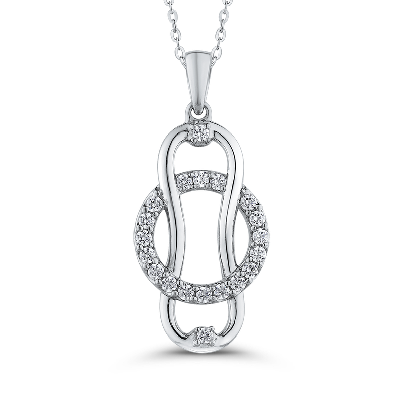 Essentials 10K White Gold Diamond Linked for Life™ Fashion Pendant with Chain