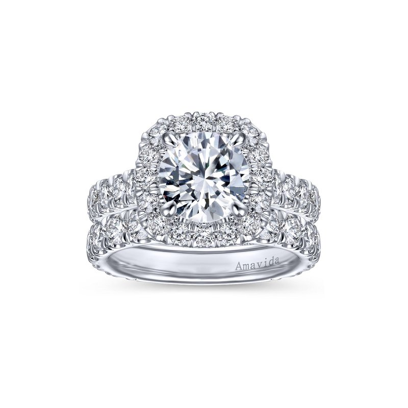 Amavida 18K White Gold Round Halo Diamond Engagement Ring