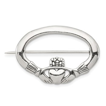 Sterling Silver Antiqued Claddagh Pin