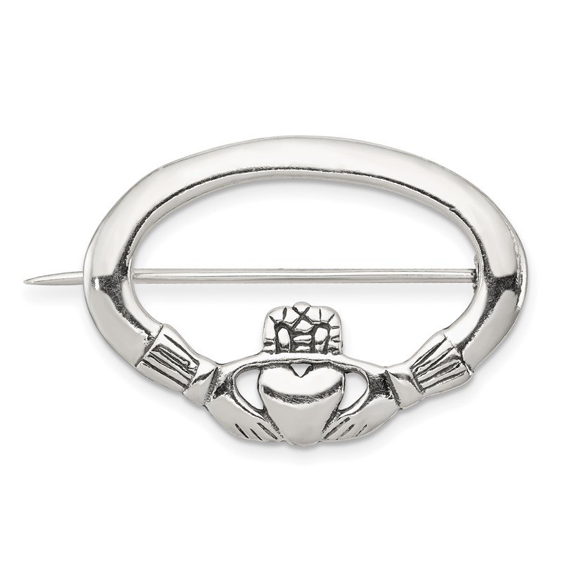 JC Sipe Essentials Sterling Silver Antiqued Claddagh Pin