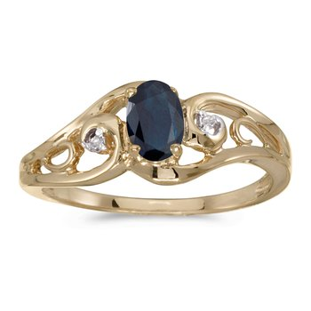 14k Yellow Gold Oval Sapphire And Diamond Ring