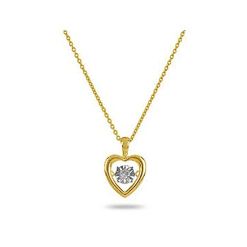 925SS Yellow Plated Solitaire Dancing Diamond Heart Pendant
