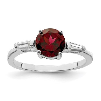 Sterling Silver Rhodium-plated Rhodolite Garnet & CZ Ring